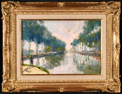 Fishing on the Seine - 19th Century Oil, Figure by River Landscape by E A Pavil