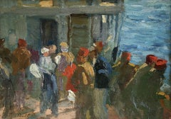 L'Embarquement - 19th Century Oil, Figures Boarding Boat at Sea by Elie Pavil