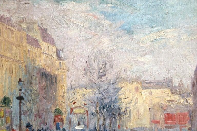 Les Grands Boulevards-Paris - Impressionist Oil, Figures in Cityscape by E Pavil - Painting by Elie Anatole Pavil
