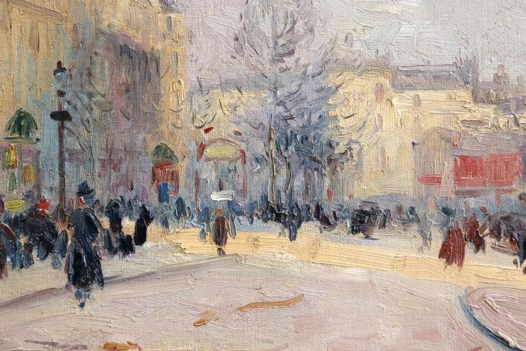 Les Grands Boulevards-Paris - Impressionist Oil, Figures in Cityscape by E Pavil - Brown Figurative Painting by Elie Anatole Pavil