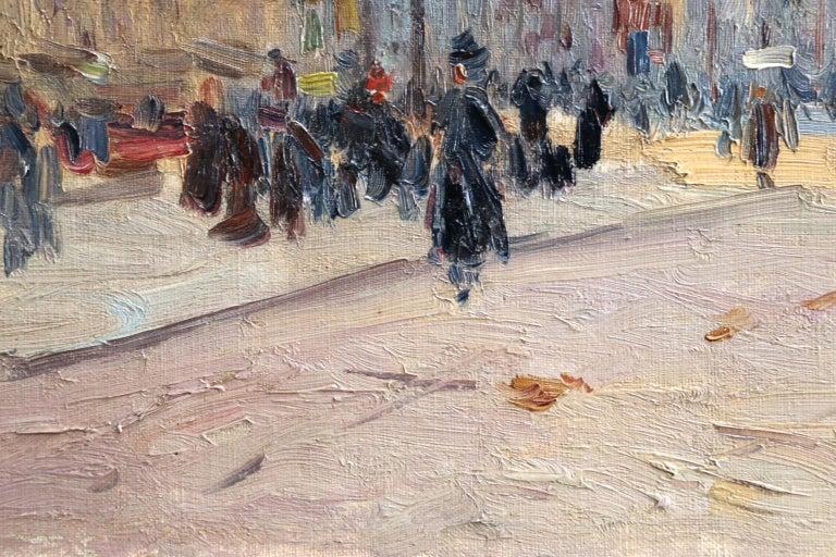 Les Grands Boulevards-Paris - Impressionist Oil, Figures in Cityscape by E Pavil For Sale 1