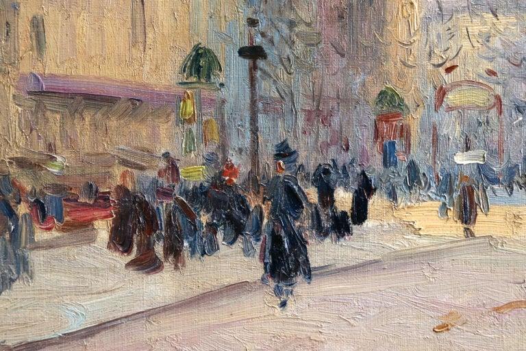 Les Grands Boulevards-Paris - Impressionist Oil, Figures in Cityscape by E Pavil For Sale 2