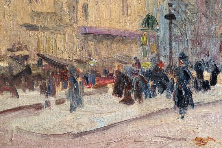 Les Grands Boulevards-Paris - Impressionist Oil, Figures in Cityscape by E Pavil For Sale 3