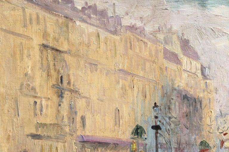 Les Grands Boulevards-Paris - Impressionist Oil, Figures in Cityscape by E Pavil For Sale 4