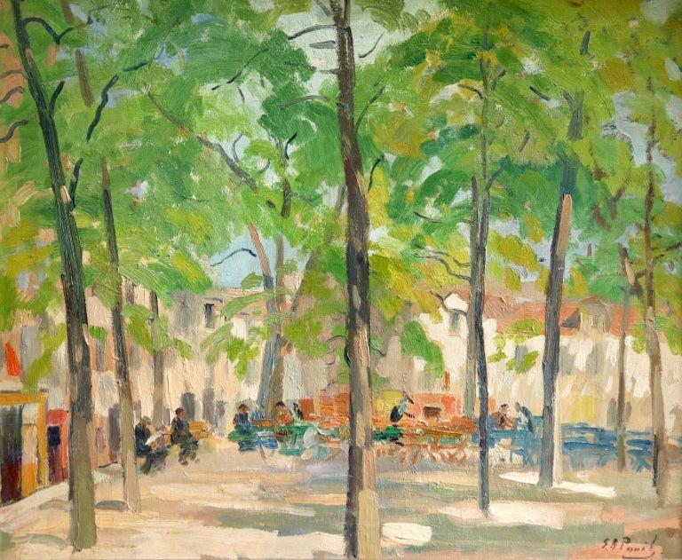 Matin D'ete - Place du Tertre, Montmartre - Figures in Town Landscape by E Pavil - Painting by Elie Anatole Pavil