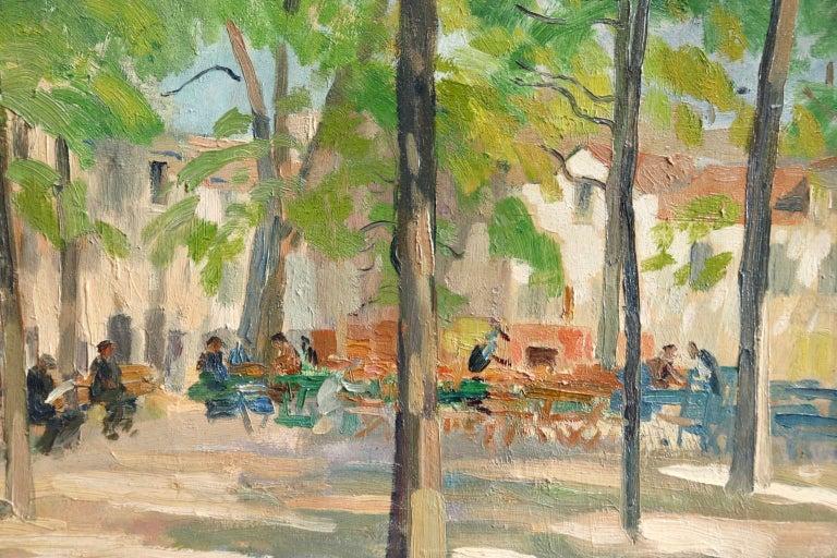 Matin D'ete - Place du Tertre, Montmartre - Figures in Town Landscape by E Pavil 1