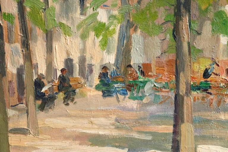 Matin D'ete - Place du Tertre, Montmartre - Figures in Town Landscape by E Pavil 4