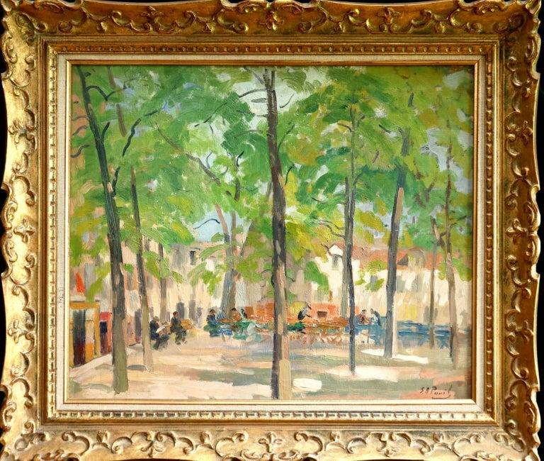 Elie Anatole Pavil Landscape Painting - Matin D'ete - Place du Tertre, Montmartre - Figures in Town Landscape by E Pavil