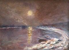Moonlight on the Seine - 19th Century Oil,  Night River Landscape - Elie Pavil