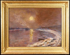 Moonlight on the Seine - 19th Century Oil,  Night River Landscape - Elie Pavil