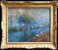 On the River - 19th Century Oil, Figures & Trees on Bank of River by Elie Pavil