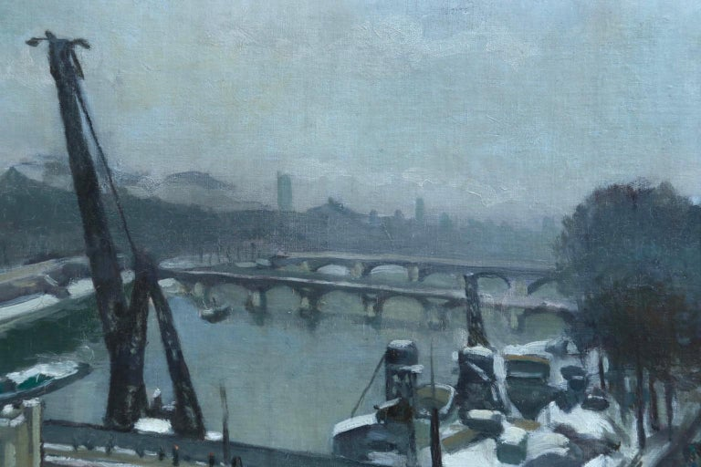 Paysage D'Hiver - Paris - Impressionist Oil, Winter Landscape by Elie A Pavil - Gray Landscape Painting by Elie Anatole Pavil