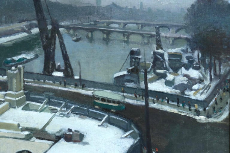 A wonderfully atmospheric oil on board by Russian painter Elie Anatole Pavil depicting a view of the River Seine in Paris on a snowy winter's day. Signed lower right.  Dimensions: Framed: 29