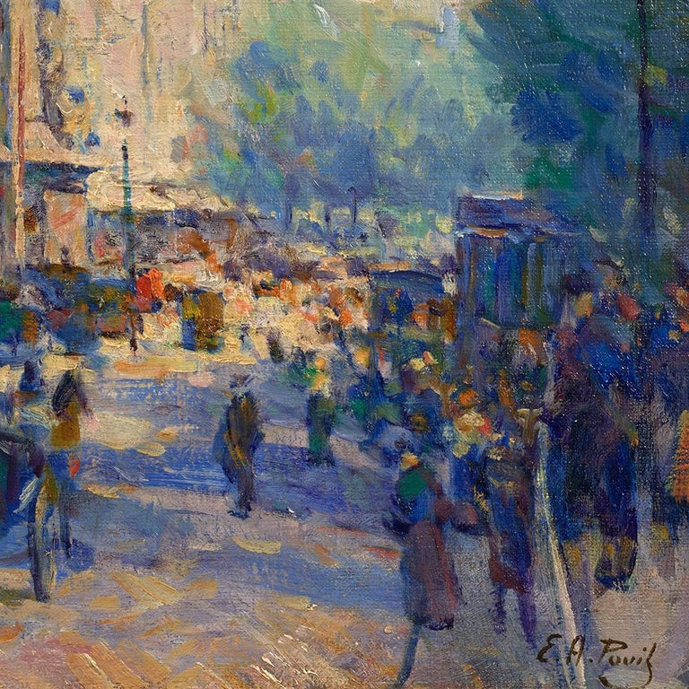 Porte St. Denis - Gray Figurative Painting by Elie Anatole Pavil