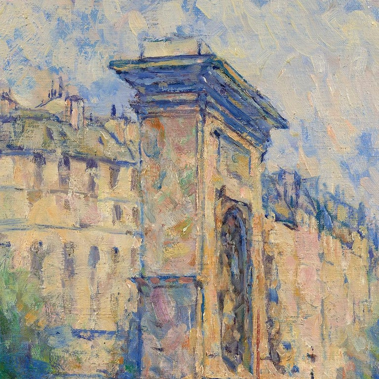 A Post-impressionist work by the 20th century artist Elie Pavil featuring a view of Porte St. Denis in Paris