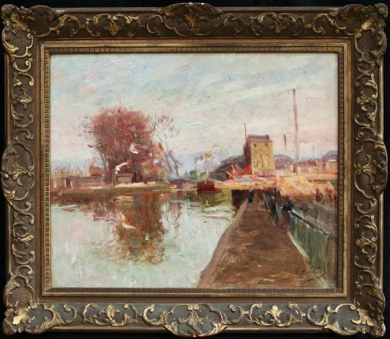 Quai de la Gironde, Paris - 19th Century Oil, Boats on Canal Landscape by Pavil - Painting by Elie Anatole Pavil