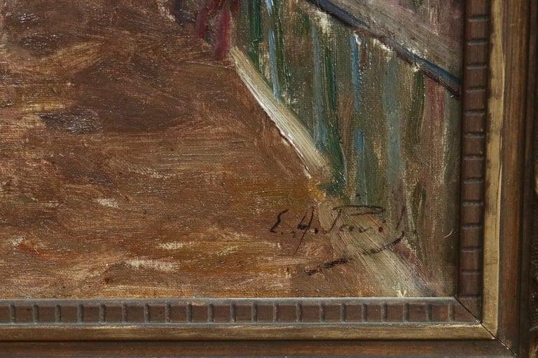Quai de la Gironde, Paris - 19th Century Oil, Boats on Canal Landscape by Pavil - Impressionist Painting by Elie Anatole Pavil