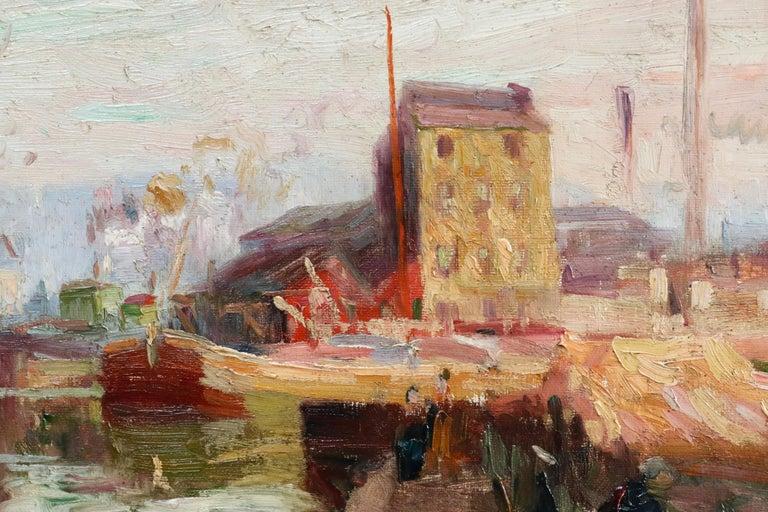 Quai de la Gironde, Paris - 19th Century Oil, Boats on Canal Landscape by Pavil - Beige Landscape Painting by Elie Anatole Pavil