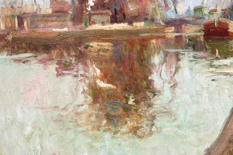 Quai de la Gironde, Paris - 19th Century Oil, Boats on Canal Landscape by Pavil For Sale 1
