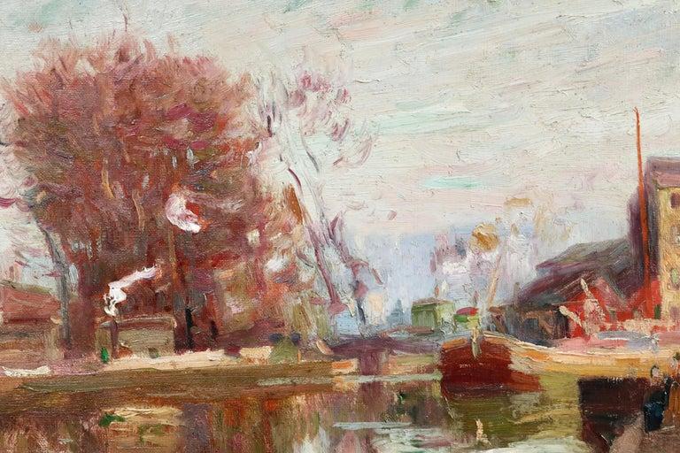 Quai de la Gironde, Paris - 19th Century Oil, Boats on Canal Landscape by Pavil For Sale 2