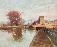 Quai de la Gironde, Paris - 19th Century Oil, Boats on Canal Landscape by Pavil