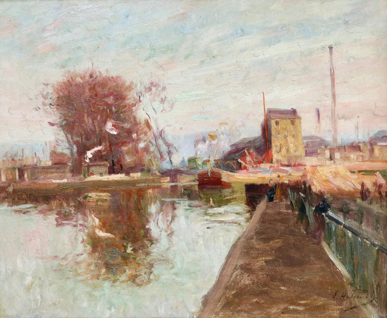 Elie Anatole Pavil Landscape Painting - Quai de la Gironde, Paris - 19th Century Oil, Boats on Canal Landscape by Pavil