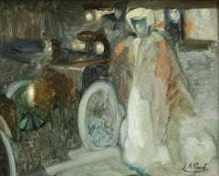 The Escort - 19th Century, Figures & Motor Vehicle in Street at Night by E Pavil