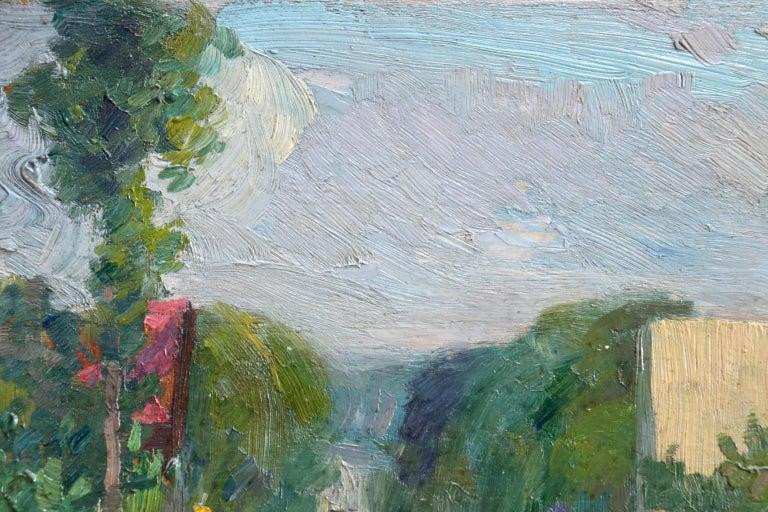 Une rue a Aulnay-Sous-Bois - Environs de Paris - Impressionist Landscape - Pavil - Painting by Elie Anatole Pavil