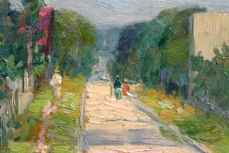 Une rue a Aulnay-Sous-Bois - Environs de Paris - Impressionist Landscape - Pavil - Post-Impressionist Painting by Elie Anatole Pavil