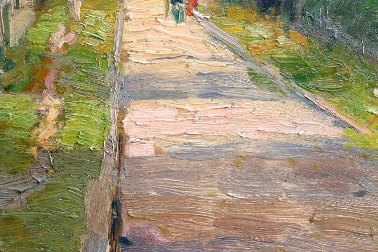 Une rue a Aulnay-Sous-Bois - Environs de Paris - Impressionist Landscape - Pavil - Gray Figurative Painting by Elie Anatole Pavil