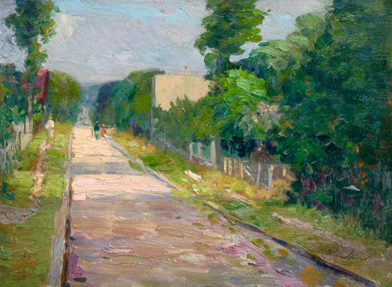 Elie Anatole Pavil Figurative Painting - Une rue a Aulnay-Sous-Bois - Environs de Paris - Impressionist Landscape - Pavil
