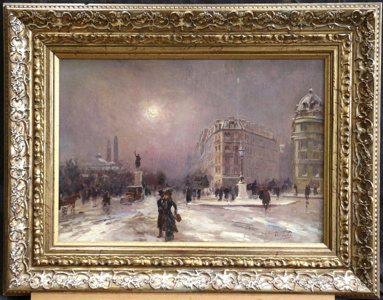 Winter in Paris - Impressionist Oil, Figures in Cityscape by Elie Anatole Pavil For Sale 1