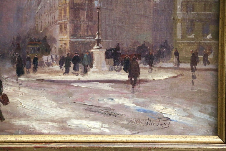Winter in Paris - Impressionist Oil, Figures in Cityscape by Elie Anatole Pavil For Sale 2