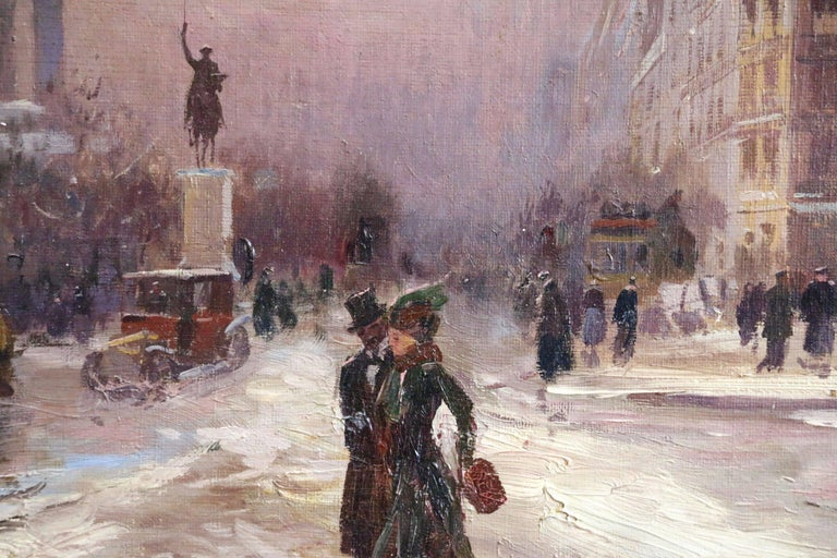 Winter in Paris - Impressionist Oil, Figures in Cityscape by Elie Anatole Pavil For Sale 3