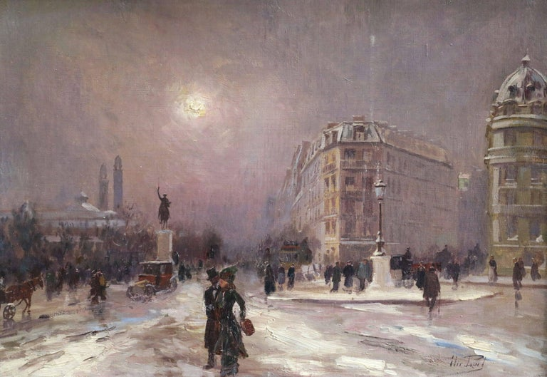 A stunning and atmospheric oil on canvas by Russian Impressionist painter Elie Anatole Pavil. The piece depicts elegant figures on the bustling streets of Paris on a snowy winter's day. Signed lower right. Framed dimensions are 23 inches high by 30