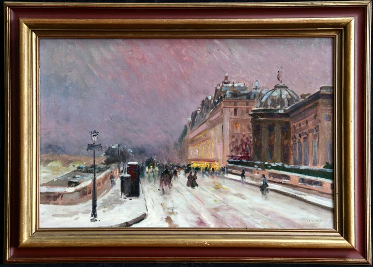 Winter - Paris - Impressionist Oil, Figures in Cityscape by Elie Anatole Pavil For Sale 1