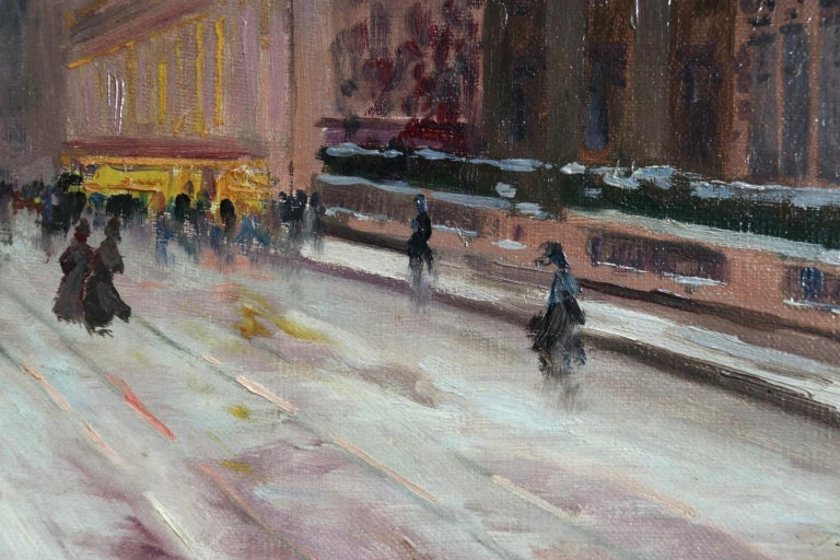 Winter - Paris - Impressionist Oil, Figures in Cityscape by Elie Anatole Pavil For Sale 3