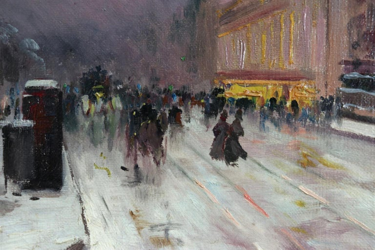 Winter - Paris - Impressionist Oil, Figures in Cityscape by Elie Anatole Pavil For Sale 4