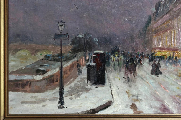 Winter - Paris - Impressionist Oil, Figures in Cityscape by Elie Anatole Pavil For Sale 5