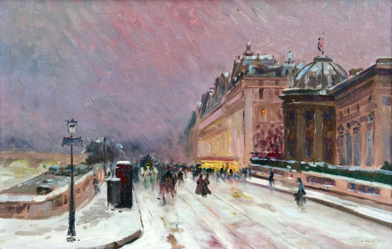 A stunning and atmospheric oil on canvas circa 1910 by Russian Impressionist painter Elie Anatole Pavil. The piece depicts elegant figures on the street beside the River Seine in Paris on a snowy winter's day. Signed lower right.