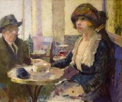 Woman in Cafe Scene, by Russian artist Pavil Anatol