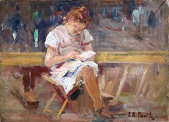 Young Girl Reading - 20th Century Oil, Seated Figure in Interior by E A Pavil