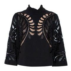 Elie Saab Black Crepe Embellished Lace Detail High Neck Blouse S