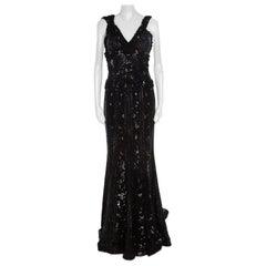 Elie Saab Black Embellished Silk Petal Applique Detail Sleeveless Gown L