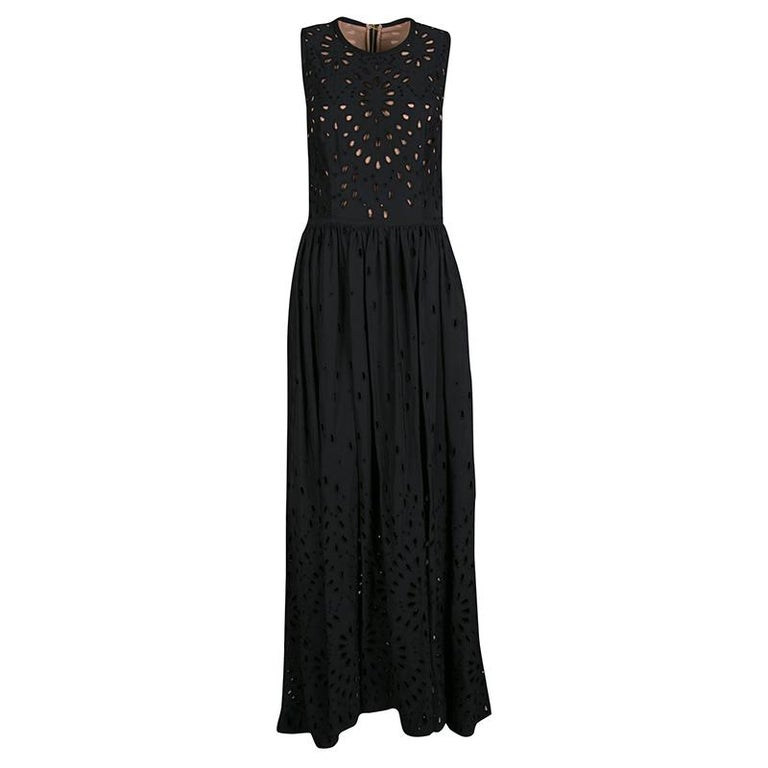 Elie Saab Black Eyelet Embroidered Gathered Sleeveless Maxi Dress S In Good Condition In Dubai, Al Qouz 2