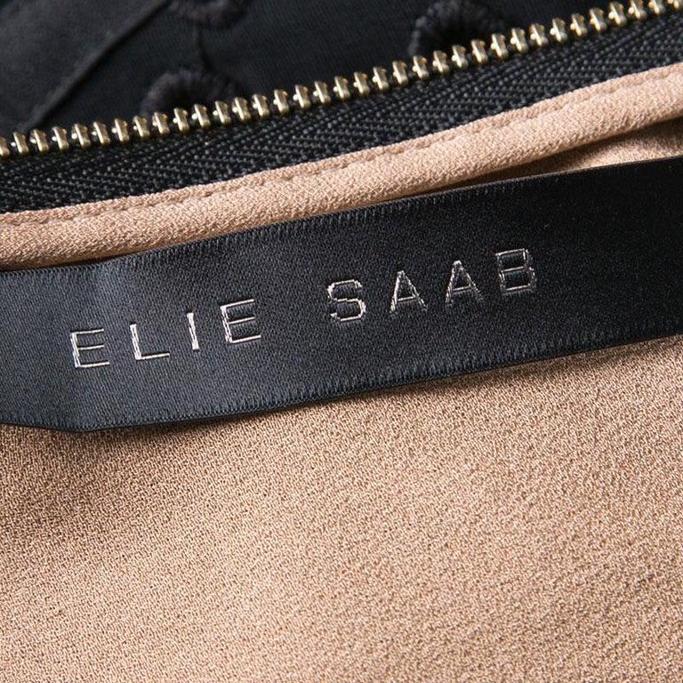 Elie Saab Black Eyelet Embroidered Gathered Sleeveless Maxi Dress S 2