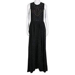 Elie Saab Black Eyelet Embroidered Gathered Sleeveless Maxi Dress S