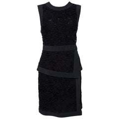 Elie Saab Black Floral Guipure Lace Layered Dress M