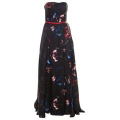Elie Saab Black Floral Printed Silk Belted Strapless Gown S