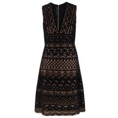 Elie Saab Black Lace-Overlay A-line Dress US 4